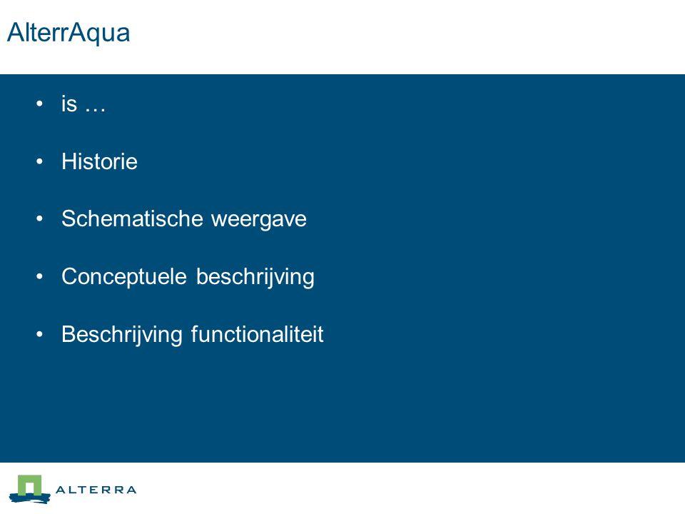 AlterrAqua is … … een gebruiksvriendelijke omgeving om, gebruikmakend van basisgegevens van waterbeheerders, te komen tot een reproduceerbare modelopbouw ten behoeve van het regionale hydrologische model Simgro.