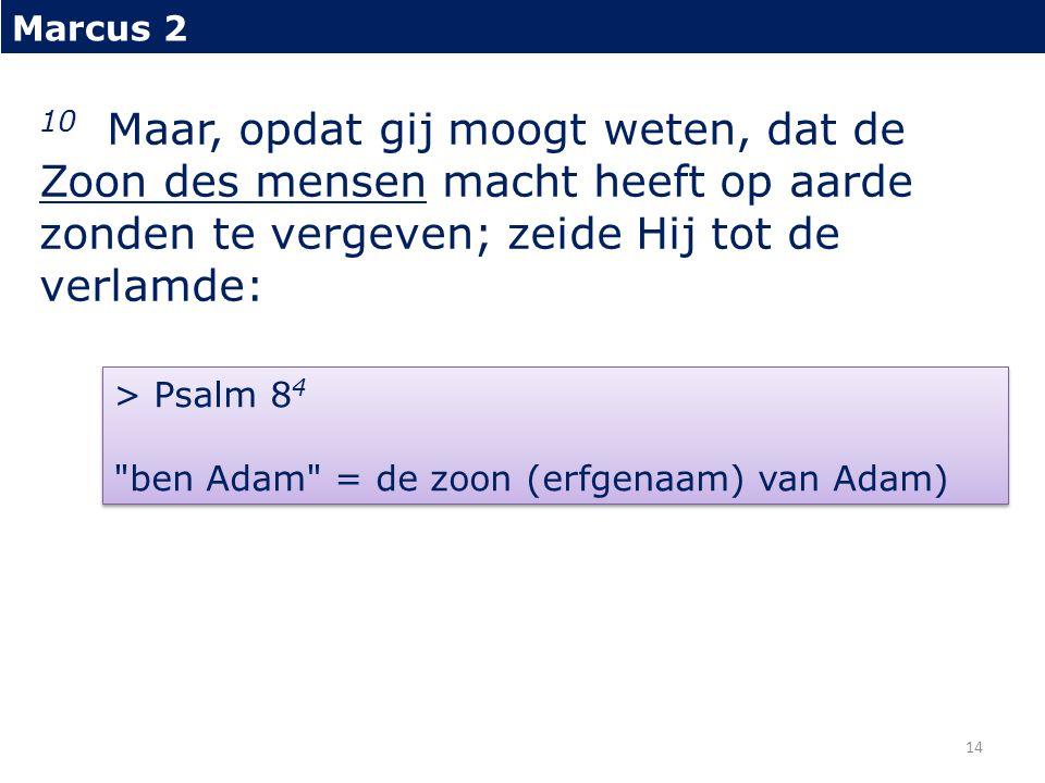 Marcus 2 10 Maar, opdat gij moogt weten, dat de Zoon des mensen macht heeft op aarde zonden te vergeven; zeide Hij tot de verlamde: > Psalm 8 4 ben Adam = de zoon (erfgenaam) van Adam) 14