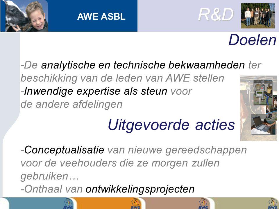 AWE ASBL Doelen R&D -De analytische en technische bekwaamheden ter beschikking van de leden van AWE stellen -Inwendige expertise als steun voor de and