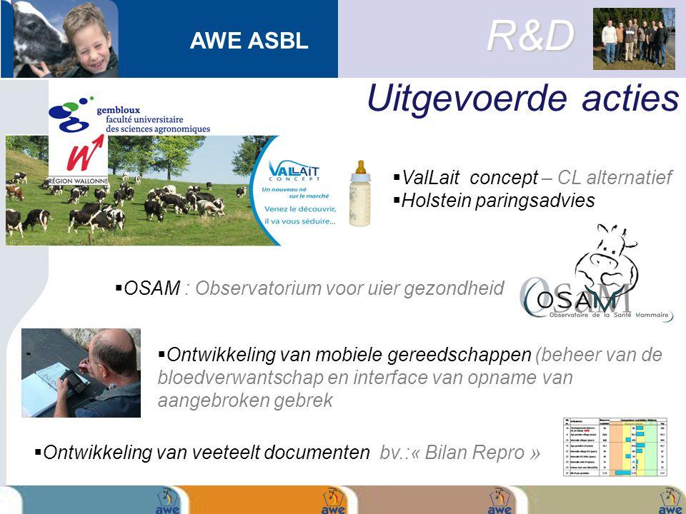 AWE ASBL Uitgevoerde acties R&D  ValLait concept – CL alternatief  Holstein paringsadvies  Ontwikkeling van veeteelt documenten bv.:« Bilan Repro »