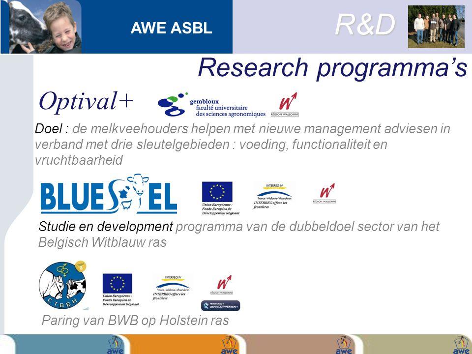 AWE ASBL Research programma's Doel : de melkveehouders helpen met nieuwe management adviesen in verband met drie sleutelgebieden : voeding, functional