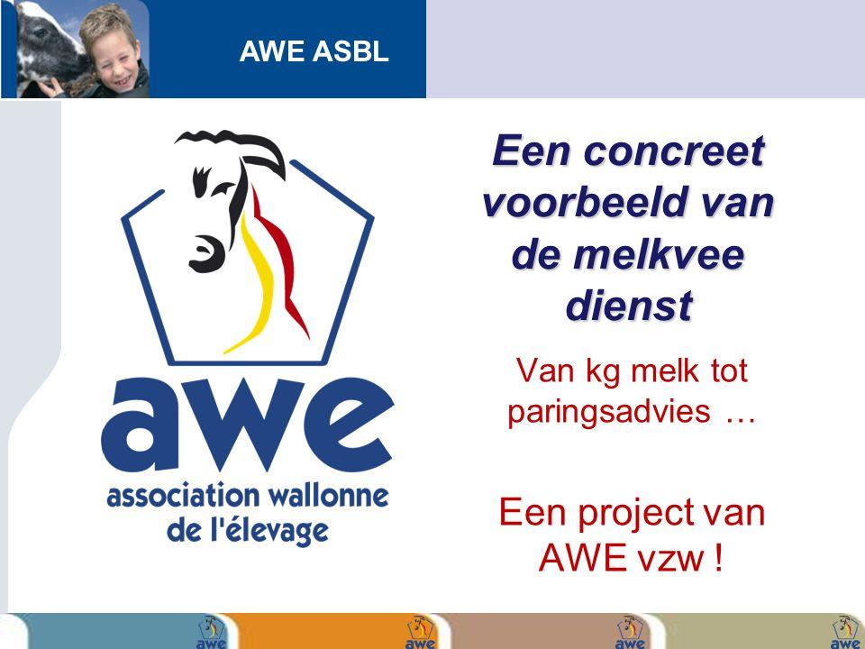 AWE ASBL Een concreet voorbeeld van de melkvee dienst Van kg melk tot paringsadvies … Een project van AWE vzw !