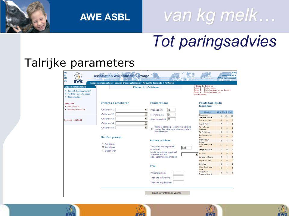 AWE ASBL Tot paringsadvies Talrijke parameters van kg melk…