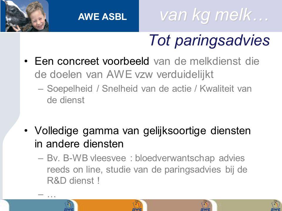 AWE ASBL Tot paringsadvies Een concreet voorbeeld van de melkdienst die de doelen van AWE vzw verduidelijkt –Soepelheid / Snelheid van de actie / Kwal