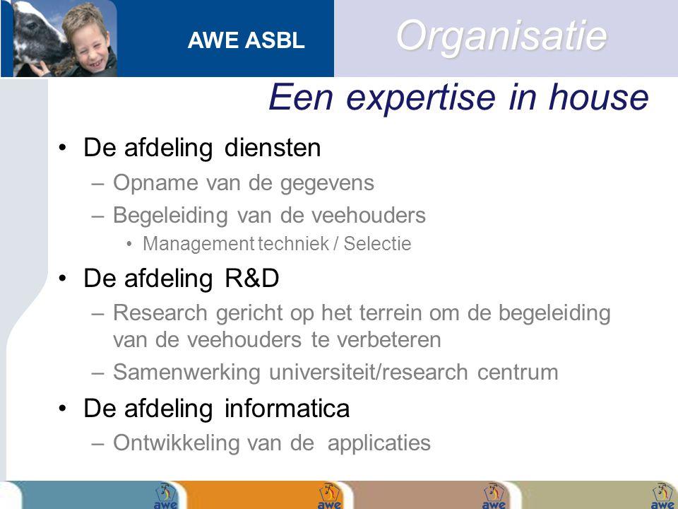 AWE ASBL Een expertise in house De afdeling diensten –Opname van de gegevens –Begeleiding van de veehouders Management techniek / Selectie De afdeling