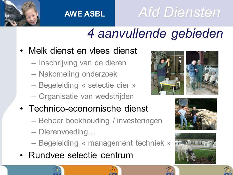 AWE ASBL 4 aanvullende gebieden Melk dienst en vlees dienst –Inschrijving van de dieren –Nakomeling onderzoek –Begeleiding « selectie dier » –Organisa