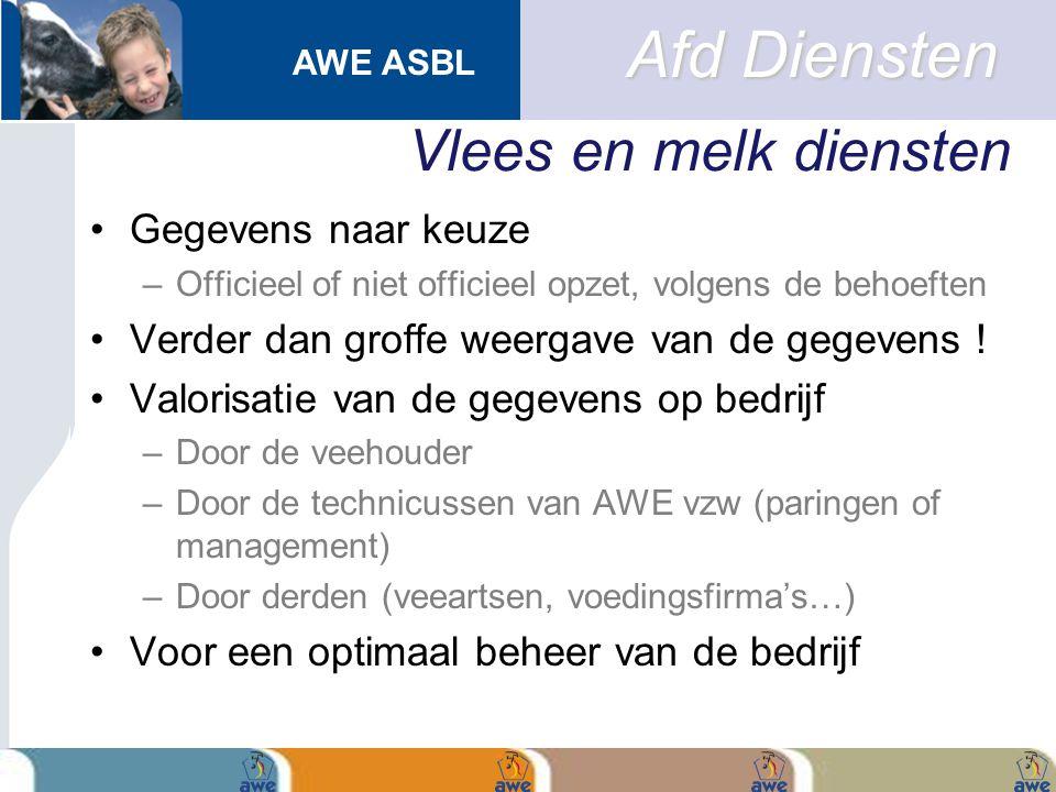 AWE ASBL Vlees en melk diensten Gegevens naar keuze –Officieel of niet officieel opzet, volgens de behoeften Verder dan groffe weergave van de gegeven