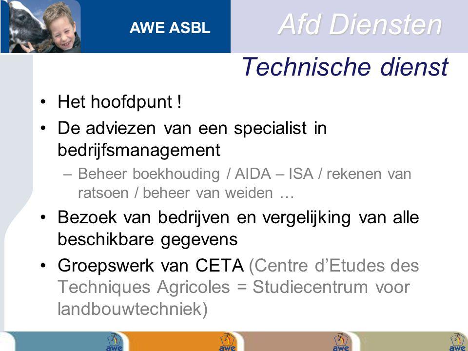 AWE ASBL Technische dienst Het hoofdpunt ! De adviezen van een specialist in bedrijfsmanagement –Beheer boekhouding / AIDA – ISA / rekenen van ratsoen