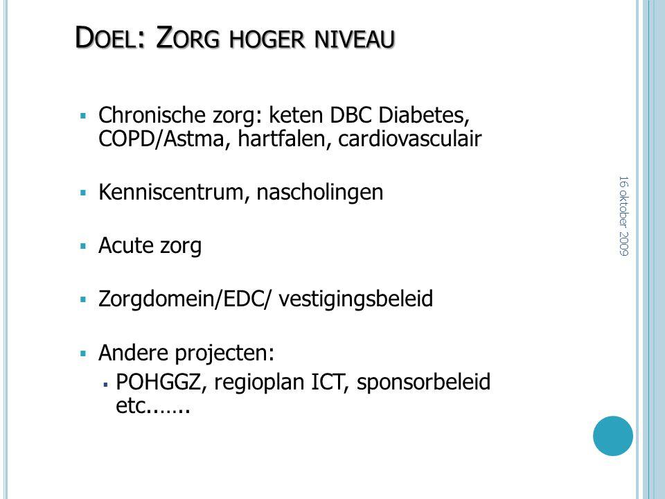 D OEL : Z ORG HOGER NIVEAU  Chronische zorg: keten DBC Diabetes, COPD/Astma, hartfalen, cardiovasculair  Kenniscentrum, nascholingen  Acute zorg 