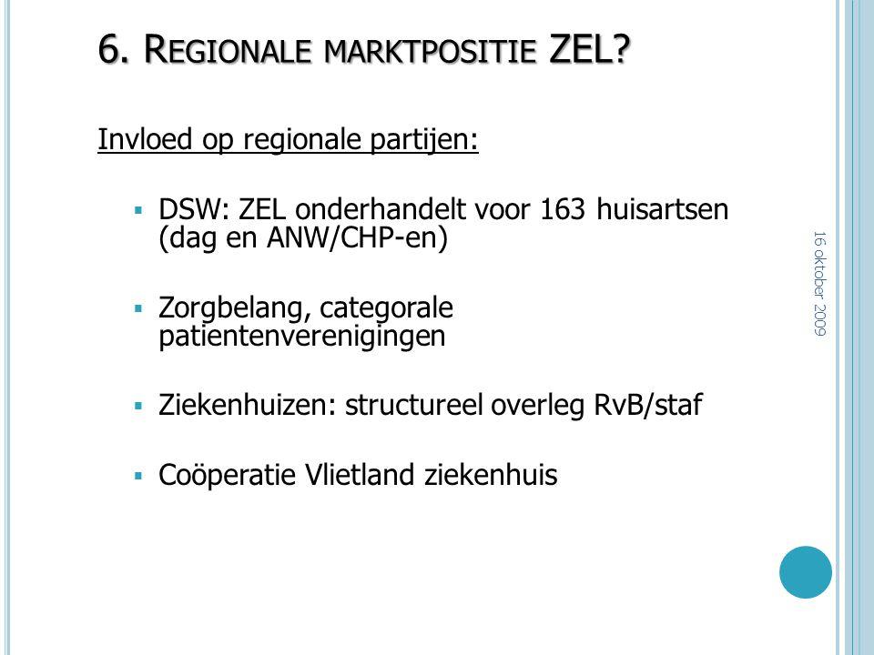 6. R EGIONALE MARKTPOSITIE ZEL? Invloed op regionale partijen:  DSW: ZEL onderhandelt voor 163 huisartsen (dag en ANW/CHP-en)  Zorgbelang, categoral