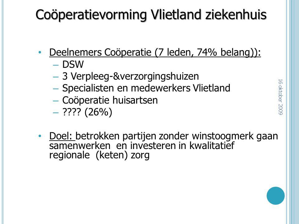 Coöperatievorming Vlietland ziekenhuis Deelnemers Coöperatie (7 leden, 74% belang)): – DSW – 3 Verpleeg-&verzorgingshuizen – Specialisten en medewerke