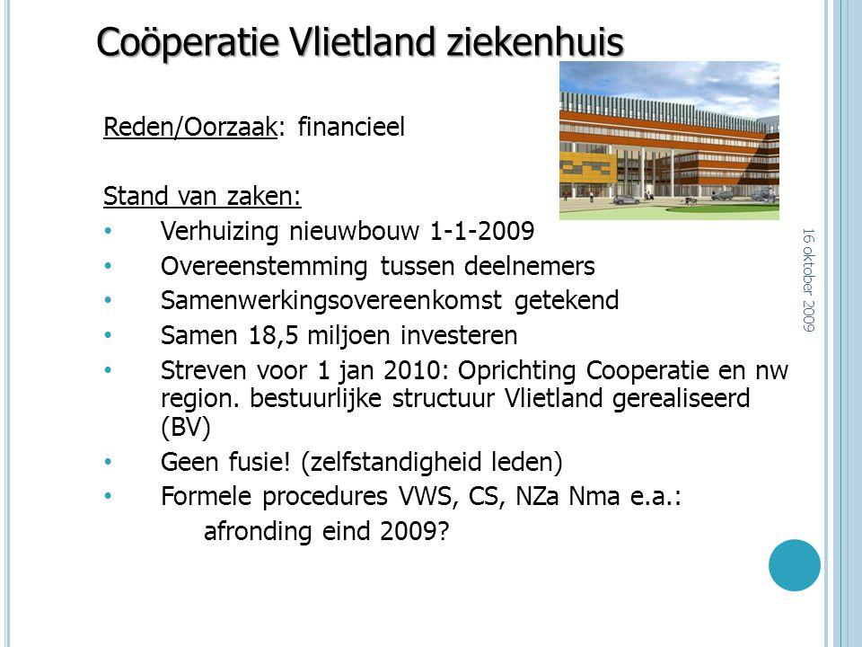 Coöperatie Vlietland ziekenhuis Reden/Oorzaak: financieel Stand van zaken: Verhuizing nieuwbouw 1-1-2009 Overeenstemming tussen deelnemers Samenwerkin