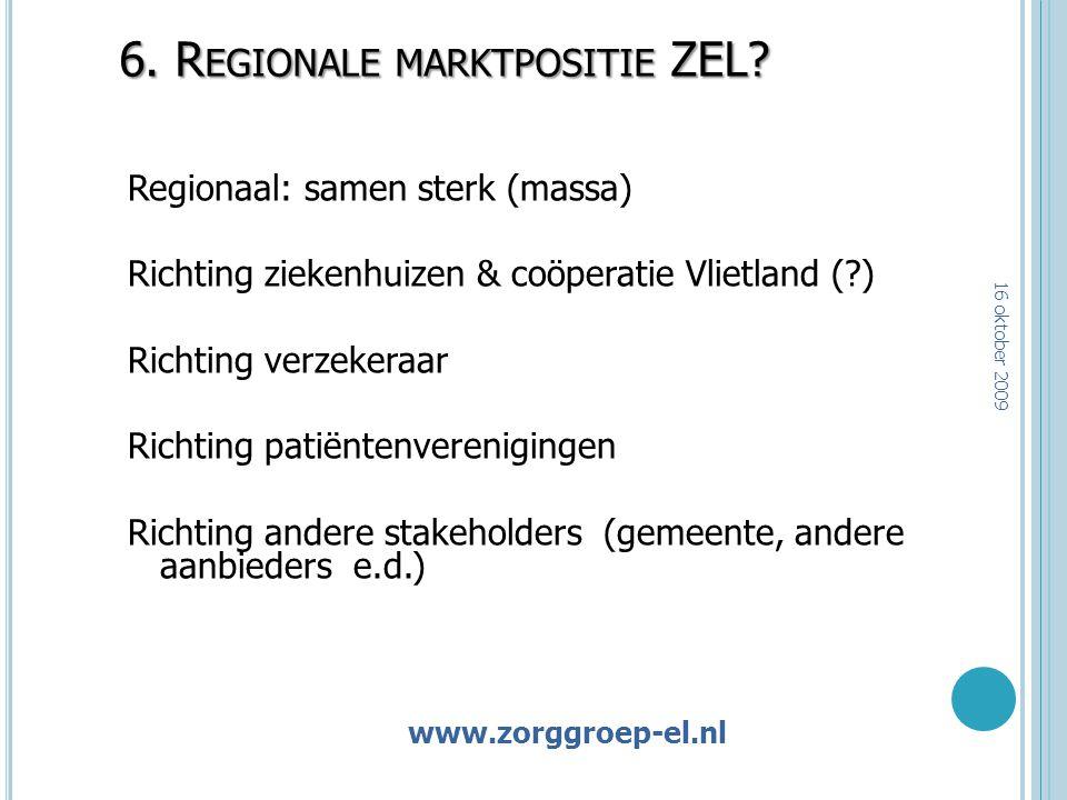 www 6. R EGIONALE MARKTPOSITIE ZEL? Regionaal: samen sterk (massa) Richting ziekenhuizen & coöperatie Vlietland (?) Richting verzekeraar Richting pati