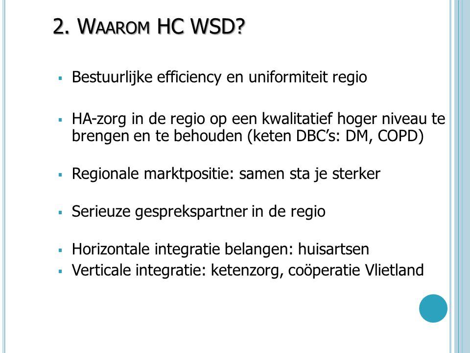 2. W AAROM HC WSD?  Bestuurlijke efficiency en uniformiteit regio  HA-zorg in de regio op een kwalitatief hoger niveau te brengen en te behouden (ke