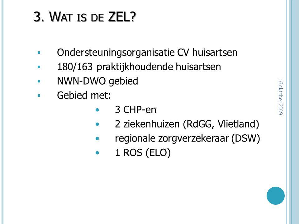 3. W AT IS DE ZEL?  Ondersteuningsorganisatie CV huisartsen  180/163 praktijkhoudende huisartsen  NWN-DWO gebied  Gebied met: 3 CHP-en 2 ziekenhui