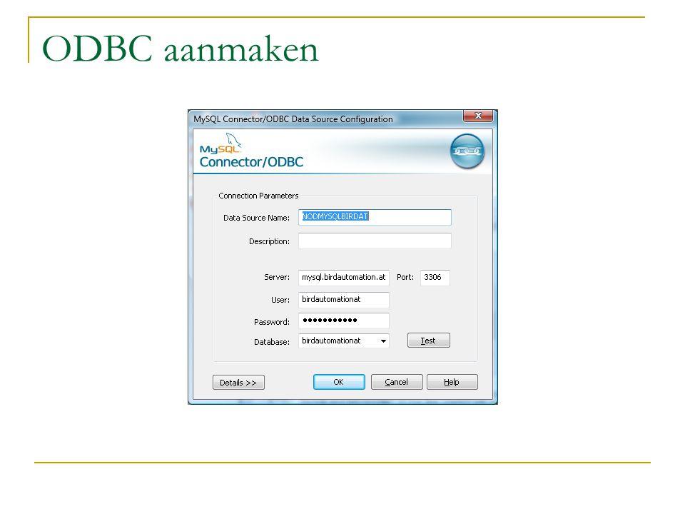 ODBC aanmaken