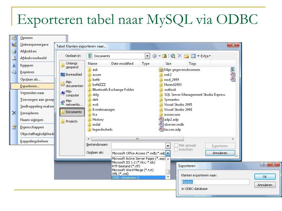 Exporteren tabel naar MySQL via ODBC