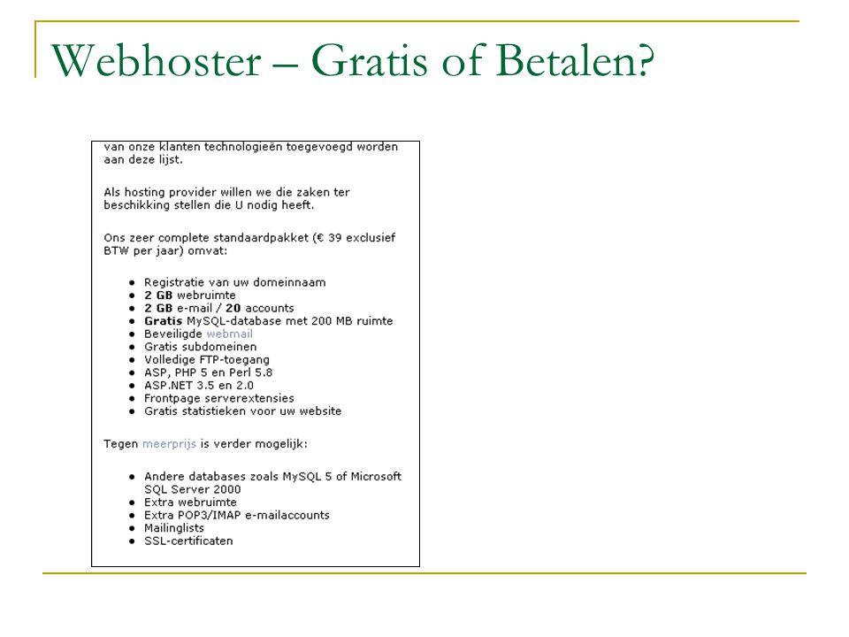 Webhoster – Gratis of Betalen