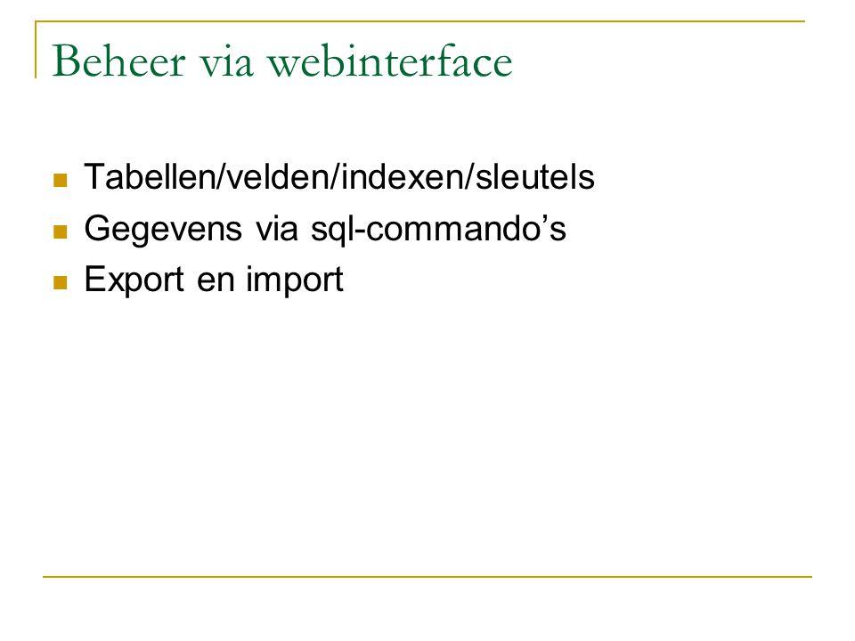 Webinterface beheer I