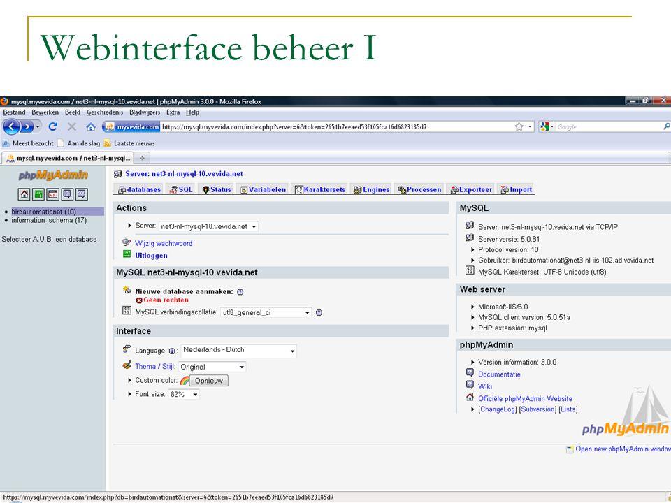 Webinterface beheer II