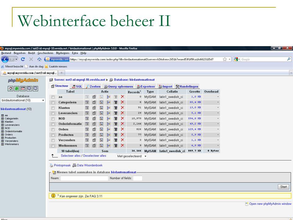 Webinterface beheer III