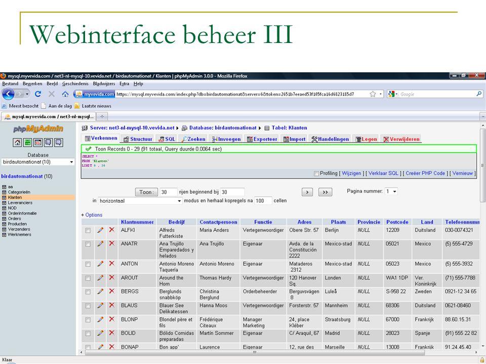Webinterface beheer IV