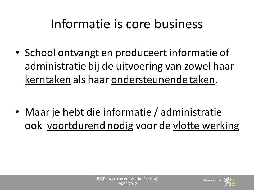 Informatie is core business School ontvangt en produceert informatie of administratie bij de uitvoering van zowel haar kerntaken als haar ondersteunende taken.