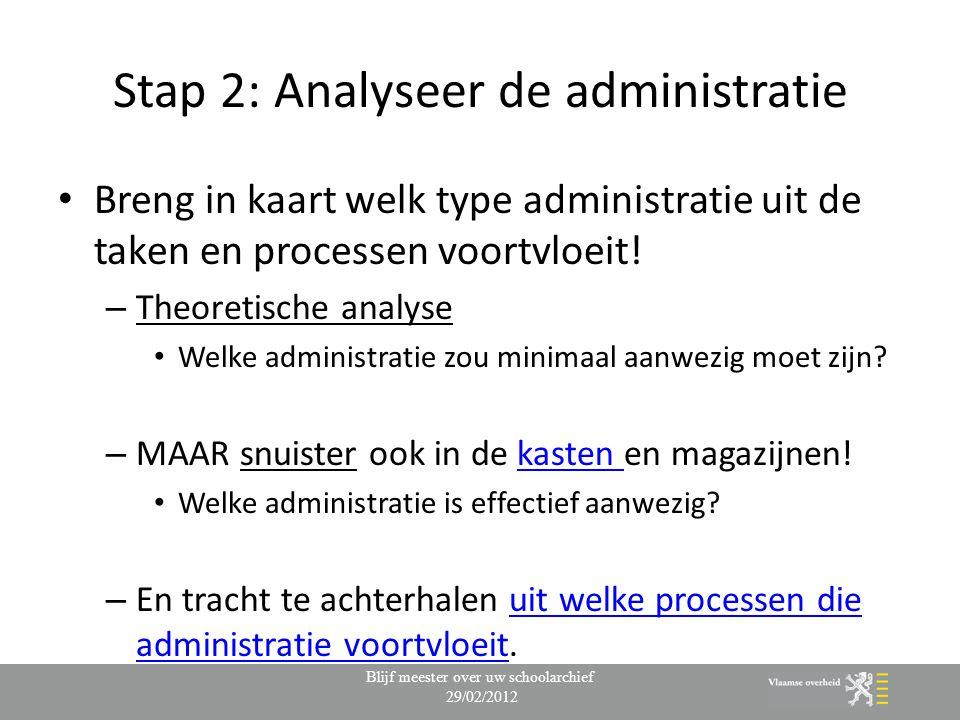 Stap 2: Analyseer de administratie Breng in kaart welk type administratie uit de taken en processen voortvloeit! – Theoretische analyse Welke administ