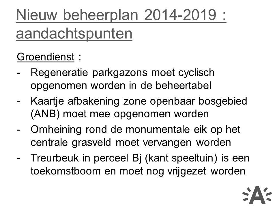 Groendienst : -Regeneratie parkgazons moet cyclisch opgenomen worden in de beheertabel -Kaartje afbakening zone openbaar bosgebied (ANB) moet mee opge