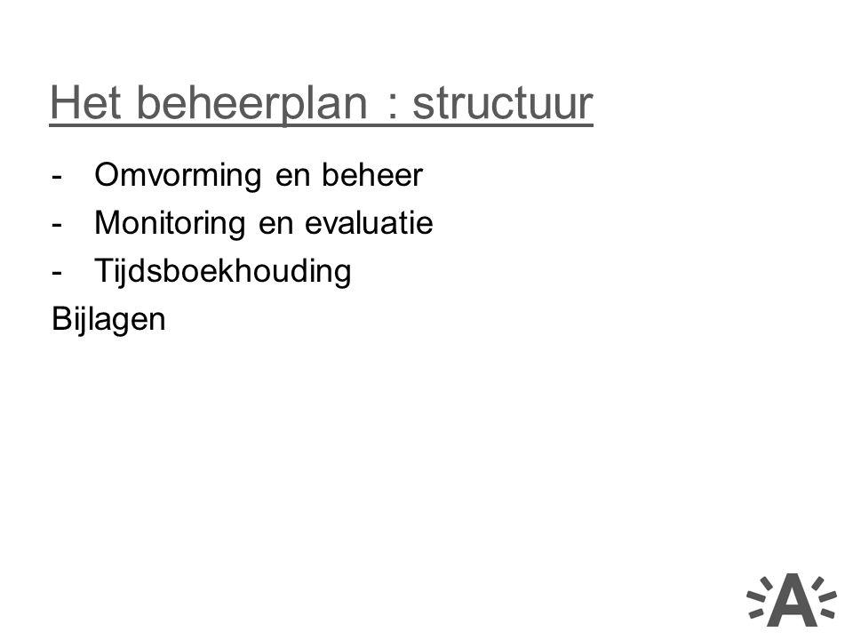 -Omvorming en beheer -Monitoring en evaluatie -Tijdsboekhouding Bijlagen Het beheerplan : structuur