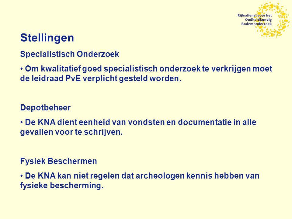 Stellingen Specialistisch Onderzoek Om kwalitatief goed specialistisch onderzoek te verkrijgen moet de leidraad PvE verplicht gesteld worden.
