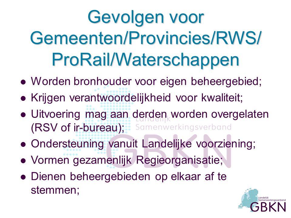 Gevolgen voor Gemeenten/Provincies/RWS/ ProRail/Waterschappen l Worden bronhouder voor eigen beheergebied; l Krijgen verantwoordelijkheid voor kwalite