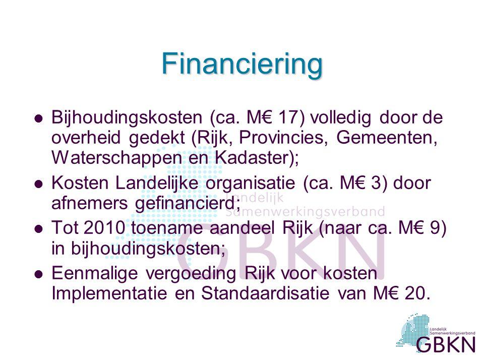 Financiering l Bijhoudingskosten (ca. M€ 17) volledig door de overheid gedekt (Rijk, Provincies, Gemeenten, Waterschappen en Kadaster); l Kosten Lande