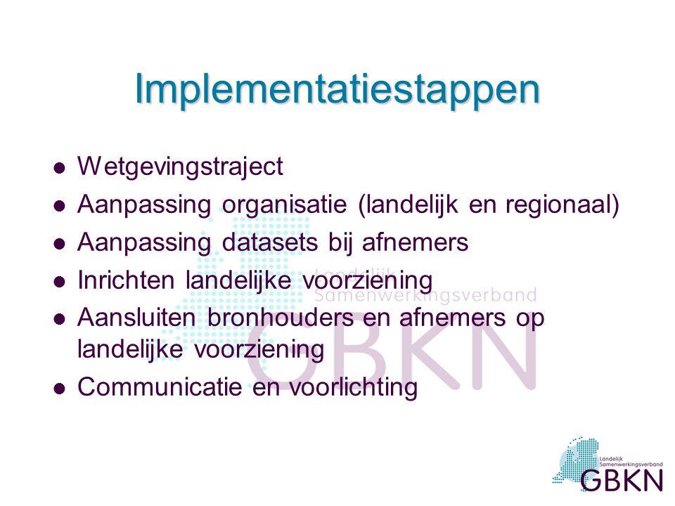 Implementatiestappen l Wetgevingstraject l Aanpassing organisatie (landelijk en regionaal) l Aanpassing datasets bij afnemers l Inrichten landelijke v