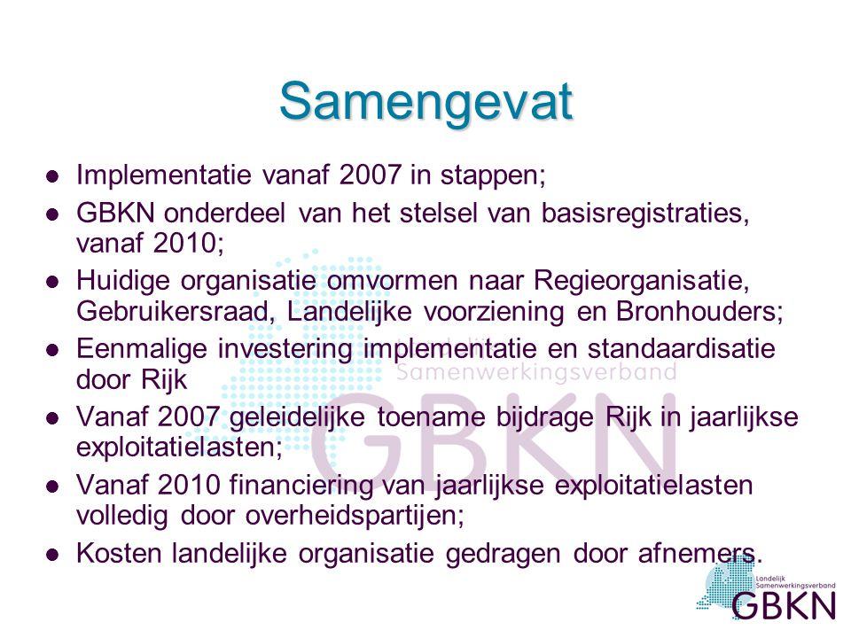 Samengevat l Implementatie vanaf 2007 in stappen; l GBKN onderdeel van het stelsel van basisregistraties, vanaf 2010; l Huidige organisatie omvormen n