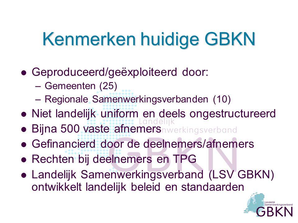 Kenmerken huidige GBKN l Geproduceerd/geëxploiteerd door: –Gemeenten (25) –Regionale Samenwerkingsverbanden (10) l Niet landelijk uniform en deels ong