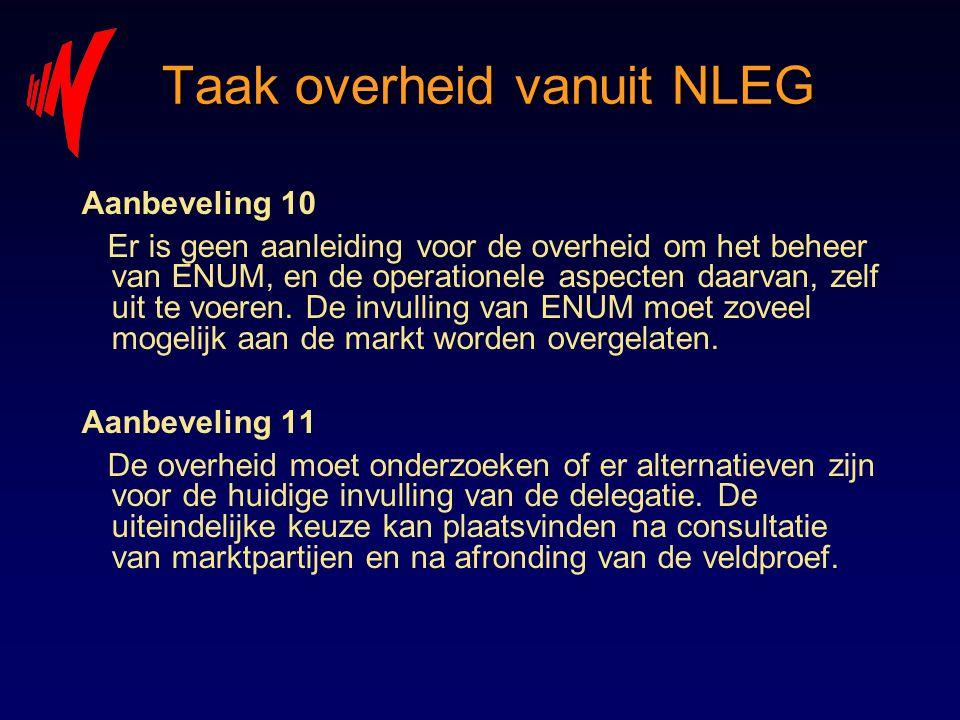 Taak overheid vanuit NLEG Aanbeveling 10 Er is geen aanleiding voor de overheid om het beheer van ENUM, en de operationele aspecten daarvan, zelf uit