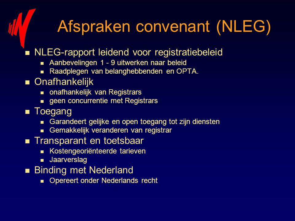 Afspraken convenant (NLEG) n NLEG-rapport leidend voor registratiebeleid n Aanbevelingen 1 - 9 uitwerken naar beleid n Raadplegen van belanghebbenden
