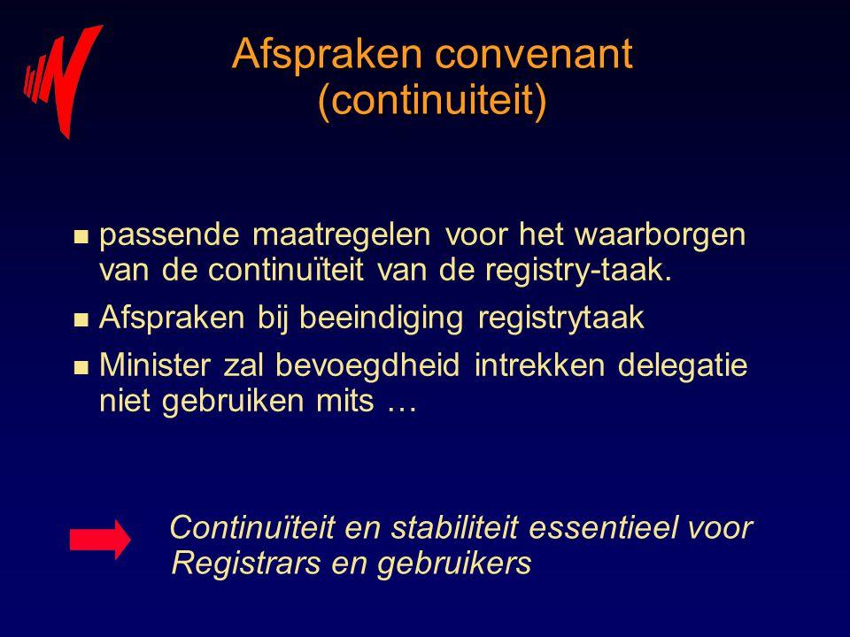 Afspraken convenant (continuiteit) n passende maatregelen voor het waarborgen van de continuïteit van de registry-taak. n Afspraken bij beeindiging re