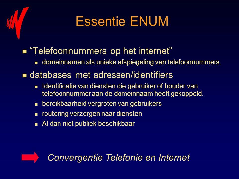 """Essentie ENUM n """"Telefoonnummers op het internet"""" n domeinnamen als unieke afspiegeling van telefoonnummers. n databases met adressen/identifiers n Id"""
