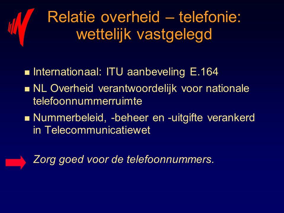 Relatie overheid – telefonie: wettelijk vastgelegd n Internationaal: ITU aanbeveling E.164 n NL Overheid verantwoordelijk voor nationale telefoonnumme