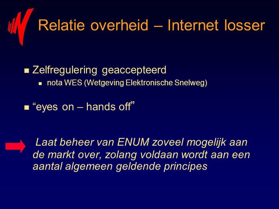 """Relatie overheid – Internet losser n Zelfregulering geaccepteerd n nota WES (Wetgeving Elektronische Snelweg) n """"eyes on – hands off """" Laat beheer van"""