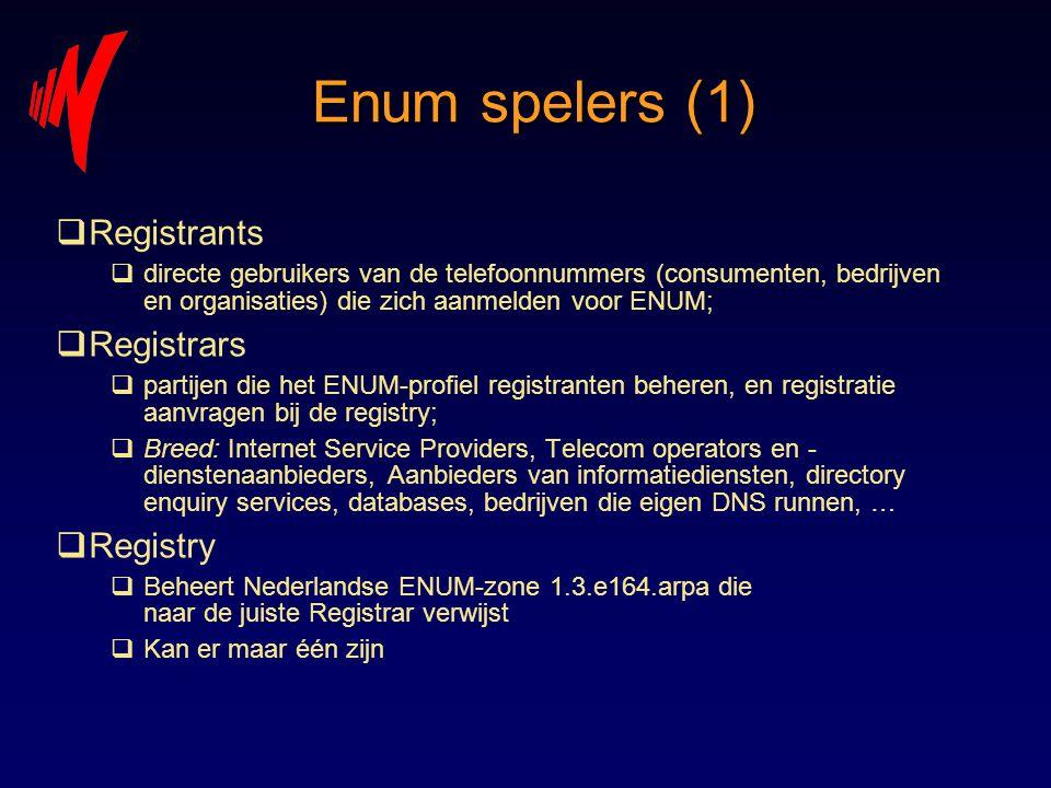 Enum spelers (1)  Registrants  directe gebruikers van de telefoonnummers (consumenten, bedrijven en organisaties) die zich aanmelden voor ENUM;  Re