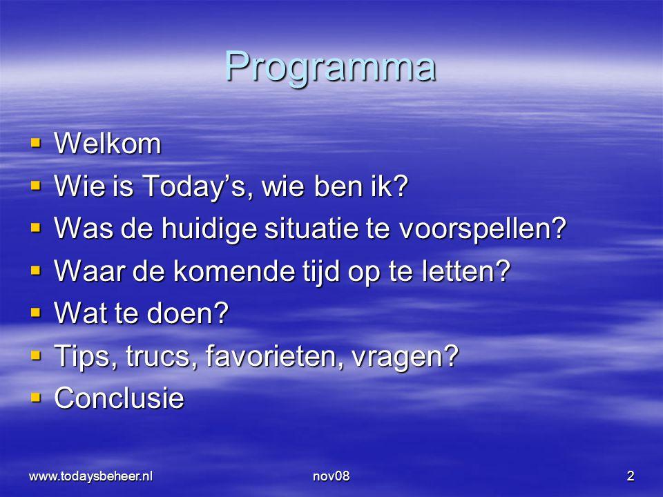 www.todaysbeheer.nlnov0843 De marktprijs is bekend en via een model met de andere prijsbepalende factoren komen we tot implied volatility.