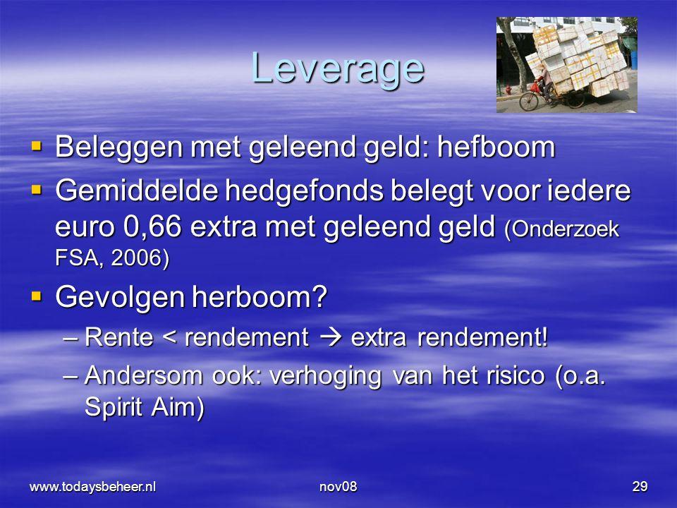 nov0829 Leverage  Beleggen met geleend geld: hefboom  Gemiddelde hedgefonds belegt voor iedere euro 0,66 extra met geleend geld (Onderzoek FSA, 2006)  Gevolgen herboom.