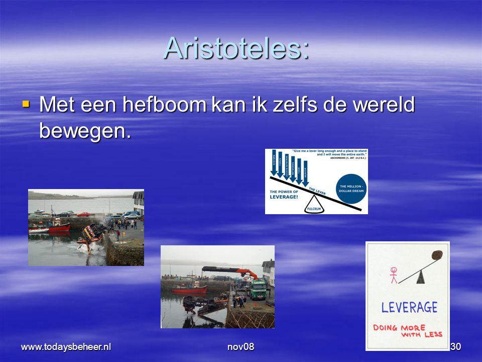 nov0830 Aristoteles:  Met een hefboom kan ik zelfs de wereld bewegen. www.todaysbeheer.nl