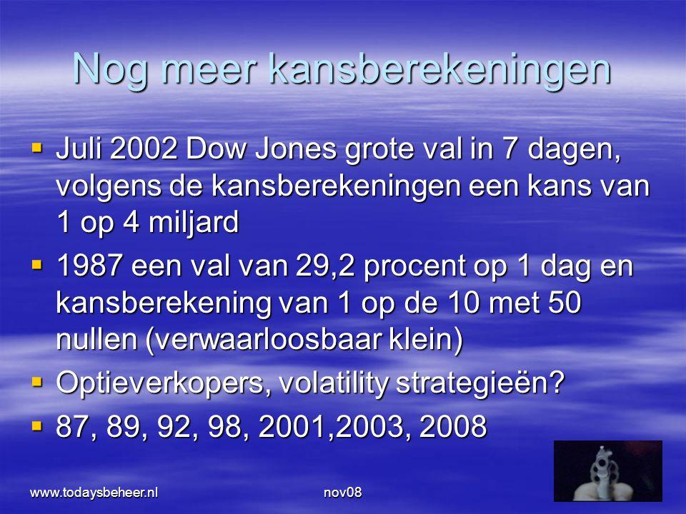 nov0833 Nog meer kansberekeningen  Juli 2002 Dow Jones grote val in 7 dagen, volgens de kansberekeningen een kans van 1 op 4 miljard  1987 een val van 29,2 procent op 1 dag en kansberekening van 1 op de 10 met 50 nullen (verwaarloosbaar klein)  Optieverkopers, volatility strategieën.