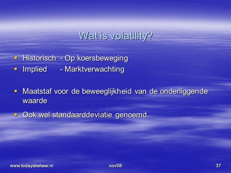 www.todaysbeheer.nlnov0837 Wat is volatility?  Historisch- Op koersbeweging  Implied - Marktverwachting  Maatstaf voor de beweeglijkheid van de ond