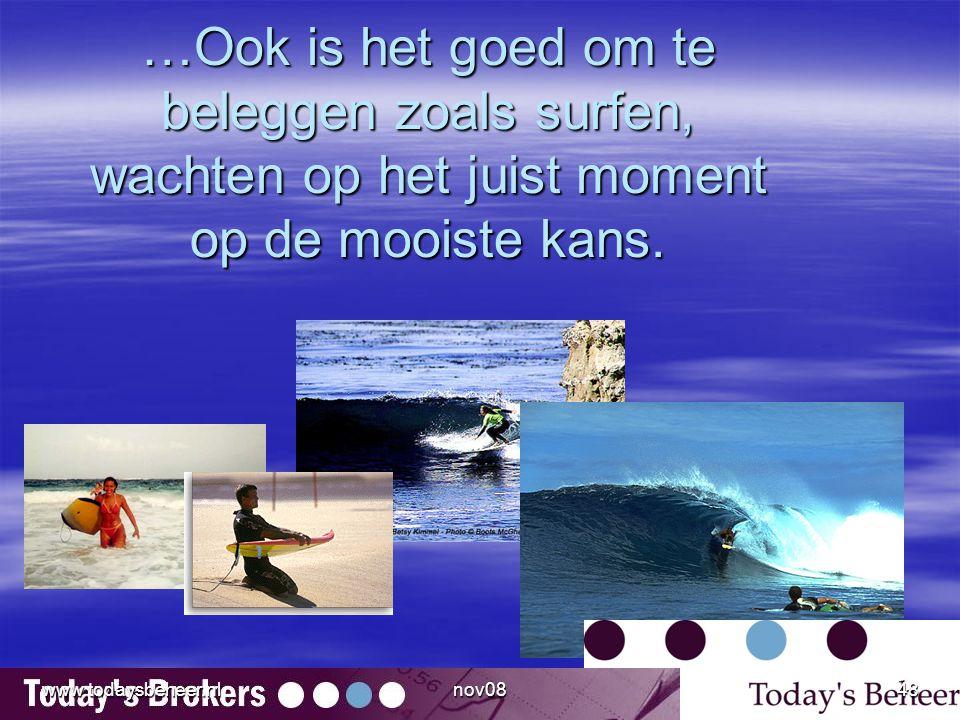 …Ook is het goed om te beleggen zoals surfen, wachten op het juist moment op de mooiste kans. www.todaysbeheer.nl48nov08