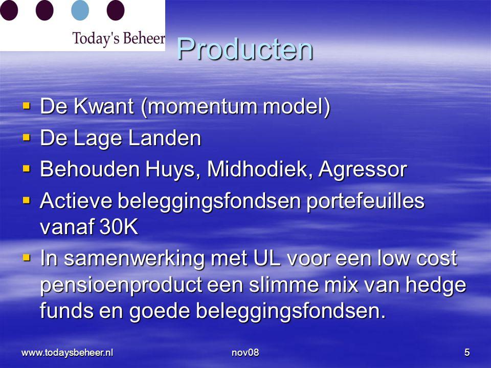 Producten  De Kwant (momentum model)  De Lage Landen  Behouden Huys, Midhodiek, Agressor  Actieve beleggingsfondsen portefeuilles vanaf 30K  In samenwerking met UL voor een low cost pensioenproduct een slimme mix van hedge funds en goede beleggingsfondsen.